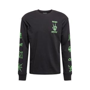 JACK & JONES Tričko  černá / svítivě zelená