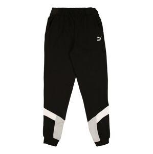 PUMA Sportovní kalhoty  černá / bílá