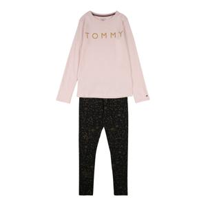 TOMMY HILFIGER Pyžamo  světle růžová / černá / zlatá