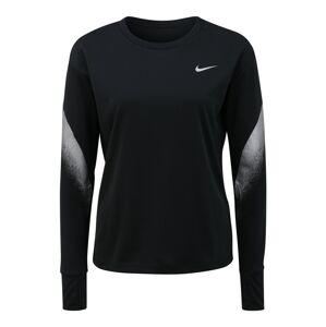 NIKE Funkční tričko 'Runaway'  černá / stříbrně šedá