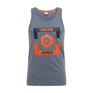 JACK & JONES Tričko 'JCOSTRONG TANKTOP'  šedý melír / svítivě oranžová / oranžová