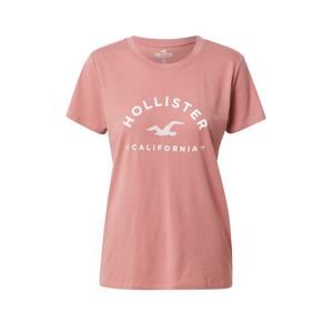 HOLLISTER Tričko  pink / bílá