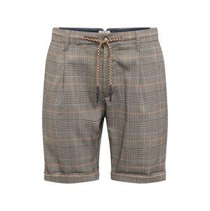 JACK & JONES Kalhoty se sklady v pase 'ARROW CHECK'  béžová / šedá
