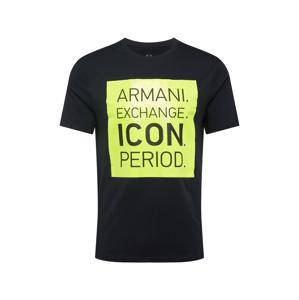 ARMANI EXCHANGE Tričko  svítivě žlutá / námořnická modř