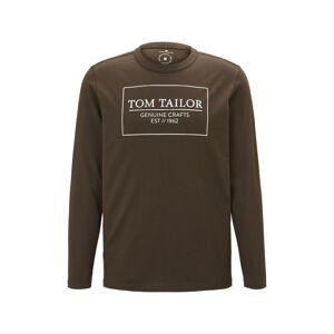 TOM TAILOR Tričko  čokoládová / bílá
