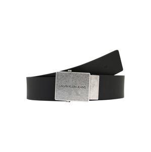 Calvin Klein Jeans Opasek 'Plaque'  stříbrná / černá