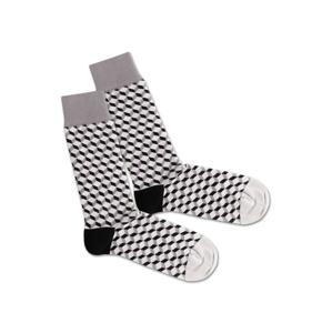 DillySocks Ponožky 'SS20-28 Concrete Dice'  bílá / šedá / černá