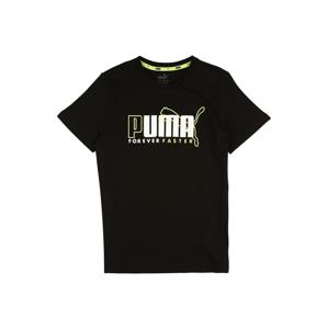 PUMA Tričko 'Alpha Graphic'  černá / bílá / svítivě žlutá