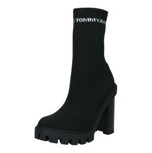 Tommy Jeans Nízké kozačky  černá / bílá