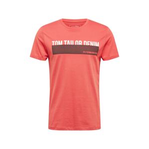 TOM TAILOR DENIM Tričko  červená / bílá