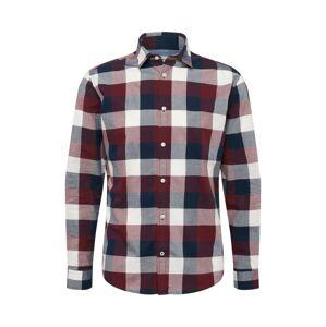 JACK & JONES Košile  modrá / vínově červená / bílá