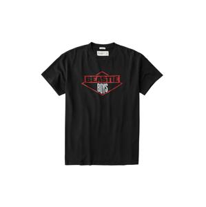 Abercrombie & Fitch Tričko  černá / tmavě červená / bílá