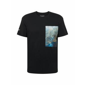 JACK & JONES Tričko 'MADDOX'  černá / modrá / oranžová