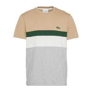 LACOSTE Tričko  zelená / béžová / šedý melír / bílá