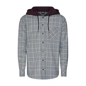 Urban Classics Košile 'Hooded Glencheck Shirt'  antracitová / vínově červená / bílá