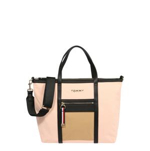 TOMMY HILFIGER Nákupní taška  černá / světle hnědá / pastelově růžová