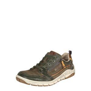 MUSTANG Sportovní šněrovací boty  zelená / hnědá / oranžová / bílá