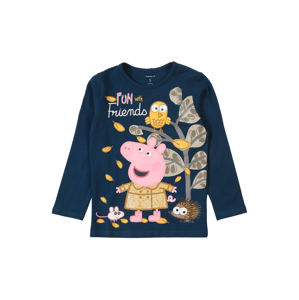 NAME IT Tričko 'PEPPAPIG LINA'  tmavě modrá / khaki / pink / hořčicová / zlatě žlutá