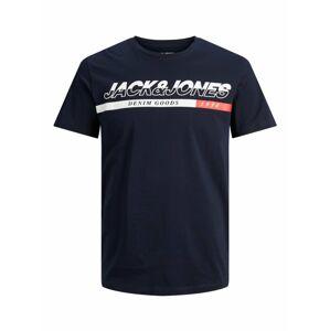 JACK & JONES Tričko  noční modrá / bílá / červená