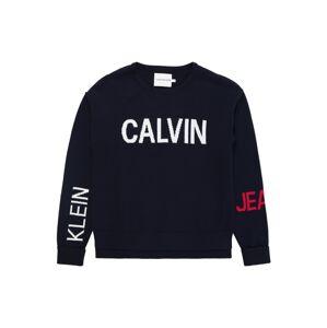 Calvin Klein Jeans Svetr  noční modrá / bílá / červená