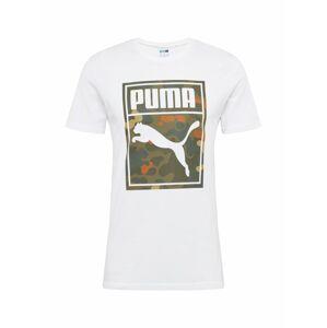 PUMA Tričko  šedý melír / mix barev / bílá / khaki / tmavě oranžová