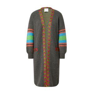 DELICATELOVE Pletený kabátek 'Anna'  šedá / červená / modrá / jablko