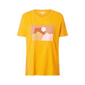 TOM TAILOR DENIM Tričko  světle hnědá / světle růžová / režná / žlutá