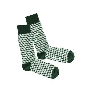 DillySocks Ponožky 'Botanic Dice'  zelená / bílá