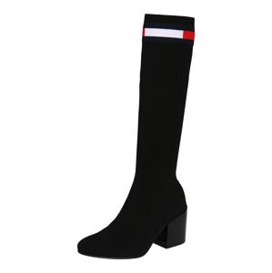 Tommy Jeans Kozačky  černá / bílá / námořnická modř / červená