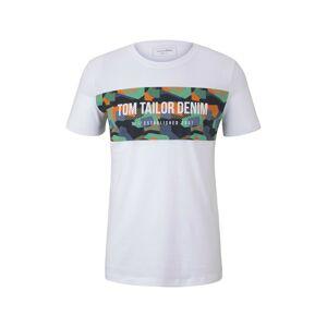 TOM TAILOR DENIM Tričko  bílá / mix barev