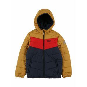 JACK WOLFSKIN Funkční bunda 'Three Hills'  zlatě žlutá / marine modrá / červená
